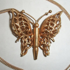 Vintage Butterfly Gold Tone Necklace
